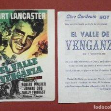 Flyers Publicitaires de films Anciens: EL VALLE DE LA VENGANZA- BURT LANCASTER- CON PUBLICIDAD---CINE CARDENIO AYAMONTE(HUELVA)--. Lote 110231066