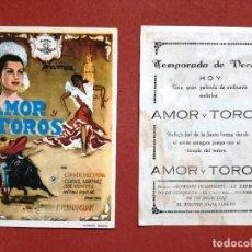 Cine: AMOR Y TOROS PROGRAMA SENCILLO FERNANSUAR PEQUEÑO CINE ESPAÑOL ANTO--CINE CARDENIO,AYAMONTE.HUELVA--. Lote 96162951