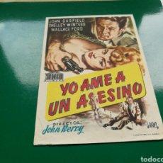 Cine: PROGRAMA DE CINE GRANDE. YO AMÉ A UN ASESINO. Lote 96436651
