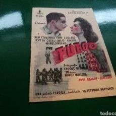 Cine: RARO PROGRAMA DE CINE SIMPLE. FUEGO, POR TONY LEBLANC Y MANOLO MORÁN. Lote 96454211