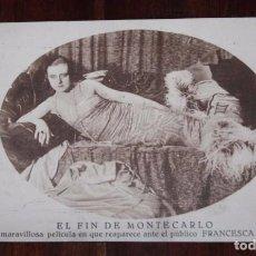 Cine: PROGRAMA DE CINE EL FIN DE MONTECARLO, PROGRAMA TARJETA, PUBLICIDAD DEL TEATRO PRINCIPAL, IMP. CALAM. Lote 96741471