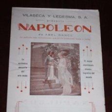 Cine: PROGRAMA DOBLE NAPOLEON DE ABEL GANCE, PRESENTA VILASECA Y LEDESMA, CINE MUDO, MIDE 44 X 33 CMS.. Lote 96750407