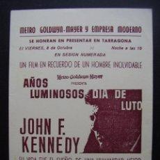 Cine: AÑOS LUMINOSOS DIA DE LUTO, PROGRAMA LOCAL DEL CINE MODERNO DE TARRAGONA. Lote 97415811