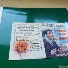 Cine: PROGRAMA DE CINE DOBLE. EL HOMBRE DE LOS MUÑECOS. CON PUBLICIDAD IDEAL CINEMA. Lote 97496107