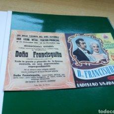 Cine: PROGRAMA DE CINE DOBLE DOÑA FRANCISQUITA. CINE VESA Y TEATRO PRÍNCIPE DE SAN SEBASTIÁN. Lote 97497268