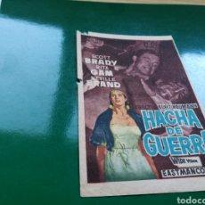 Cine: PROGRAMA DE CINE SIMPLE HACHA DE GUERRA. CON PUBLICIDAD DEL CINE PRINCIPAL. Lote 97500475
