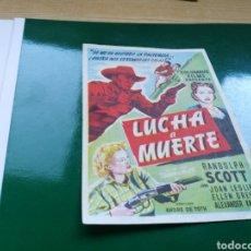 Cine: PROGRAMA DE CINE SIMPLE LUCHA A MUERTE. CON PUBLICIDAD DE LA SALA AVENIDA DE SORIA. Lote 97500524