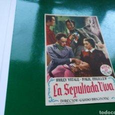 Cine: PROGRAMA DE CINE LA SEPULTADA VIVA. CON PUBLICIDAD DEL CINE MODERNO DE LLORET DE MAR DE (GERONA). Lote 97505542