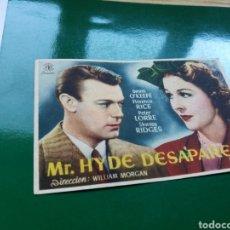 Cine: PROGRAMA DE CINE MISTER HYDE DESAPARECE. CON PUBLICIDAD DEL TEATRO PRINCIPAL. AÑOS 40. Lote 97506339