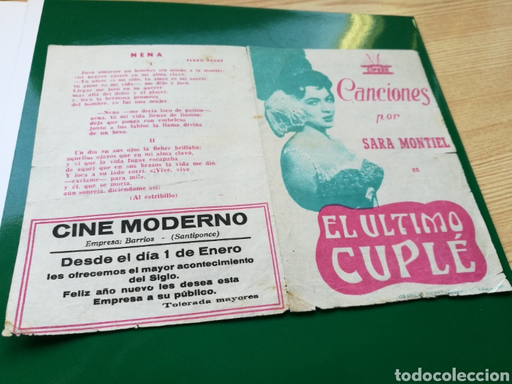 PROGRAMA DE CINE. EL ÚLTIMO CUPLÉ, POR SARA MONTIEL. CINE MODERNO DE SANTIPONCE (SEVILLA) (Cine - Folletos de Mano - Musicales)