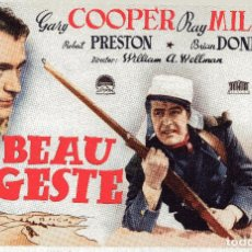 Cine: BEAU GESTE GARY COOPER 1939 PROGRAMA SENCILLO MERCURIO PUBLICIDAD CERAMICA EL MONTGRI BARCELONA. Lote 97540095