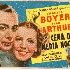 Cine: CENA DE MEDIA NOCHE CHARLES BOYER & JEAN ARTHUR 1937 CINE LIDO BARCELONA 1947. Lote 97540191