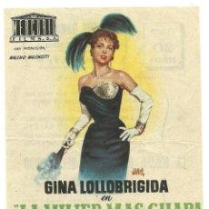 Cine: FOLLETO DE MANO ORIGINAL CINE - LA MUJER MAS GUAPA DEL MUNDO - PUBLICIDAD EN REVERSO . Lote 97693747