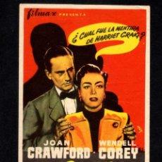 Cine: FOLLETO DE MANO:L LA ENVIDIOSA - JOAN CRAWFORD WENDELL COREY V. SHERMAN - CINE MONTERROSA REUS. Lote 97717615