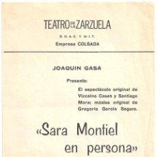 Cine: SARA MONTIEL EN PERSONA PROGRAMA DOBLE TEATRO DE LA ZARZUELA MADRID 1969. Lote 97722367