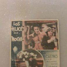Cine: FOLLETO CINE LOS HIJOS DE LA NOCHE. CINE NORBA. Lote 97729527
