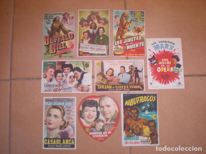 LOTE DE 9 PROGRAMAS DE CINE DE MANO DE LOS AÑOS 40. (Cine - Folletos de Mano - Clásico Español)