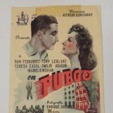Cine: FUEGO - FOLLETO MANO ORIGINAL ESTRENO - NANI FERNANDEZ TONY LEBLANC MANOLO MORAN. Lote 97944819