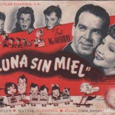 Cine: LUNA SIN MIEL - PROGRAMA SENCILLO UNIVERSAL FILMS CON PUBLICIDAD RF-1295. Lote 98180351