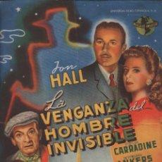 Cine: LA VENGANZA DEL HOMBRE INVISIBLE / PROGRAMA SENCILLO DE UNIVERSAL FILMS CON PUBLICIDAD, RF-1296. Lote 98180475