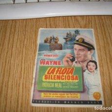 Cine: JOHN WAYNE -LA FLOTA SILENCIOSA DE 1953 -CINE MARIN IMPRENTA HIJO DEE B.VILLANUEVA-TERUEL. Lote 98243023
