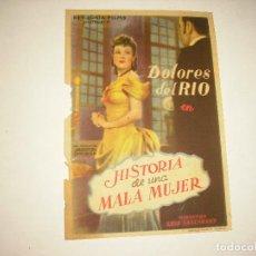 Cine: HISTORIA DE UNA MALA MUJER , CON PUBLICIDAD. Lote 98245611