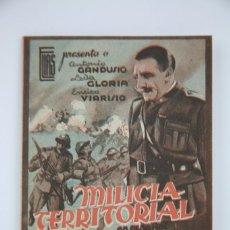 Cine: PROGRAMA DE CINE DOBLE - MILICIA TERRITORIAL - E.I.A, AÑO 1943. Lote 98424095