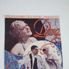 Cine: PROGRAMA DE CINE GRAN FORMATO DOBLE - DIME QUIEN ERES TÚ - SELECCIONES I.B.I FILMS - AÑO 1934. Lote 98428567