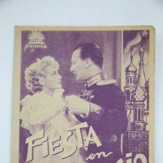Cine: PROGRAMA DE CINE DOBLE - FIESTA EN PALACIO 7 CAMILLA HORN, IVÁN PETROVICH- CIFESA - AÑO 1936. Lote 98434863