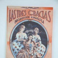 Cine: PROGRAMA DE CINE DOBLE - LAS TRES GRACIAS - E. GONZALEZ - AÑO 1942 - PUBLICIDAD AL DORSO. Lote 98436023