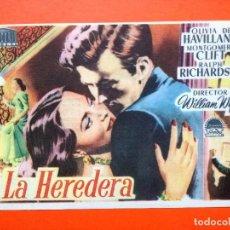 Cine: LA HEREDERA .TEATRO BENAVENTE. LA HEREDERA - OLIVIA DE HAVILLAND, MONTGOMERY CLIFT . Lote 98436155