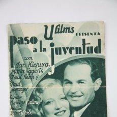 Cine: PROGRAMA DE CINE DOBLE - PASO A LA JUVENTUD / JAN KIEPURA, MARTA EGGERTH - U FILMS - AÑO 1935 . Lote 98436767