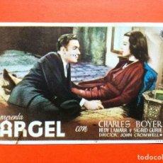 Cine: PROGRAMA DE CINE DE MANO ORIGINAL. ARGEL. CHARLES BOYER- HEDY LAMARR- SIGRID GURIE.. Lote 98437251