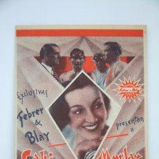 Cine: PROGRAMA DE CINE DOBLE - FELIPE DERBLAY - EXCLUSIVAS FEBRER & BLAY - AÑO 1934. Lote 98438199