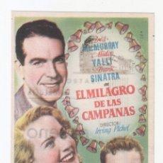 Cine: EL MILAGRO DE LAS CAMPANAS.PROGRAMA SENCILLO CON PUBLICIDAD.TEATRO ANDALUCIA.CÁDIZ.. Lote 98487715
