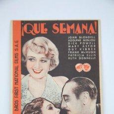 Cine: PROGRAMA DE CINE - ¡ QUE SEMANA ! - WARNER BROS, AÑO 1935. Lote 98540435