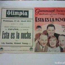 Cine: ÉSTA ES LA NOCHE - PARAMOUNT FILMS, 1933-- CINE OLIMPIA -- SIN DOBLAR . Lote 98548599