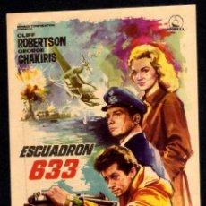 Cine: FOLLETO DE MANO: ESCUADRON 633 - CLIFF ROBERSTON, GEORGE CHAKIRIS, CINE ASTORIA CRISTINA - DIB. JANO. Lote 98629351