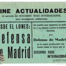 Cine: CARTEL - REPUBLICANO - DEFENSA DE MADRID - SOCORRO ROJO. Lote 98796175