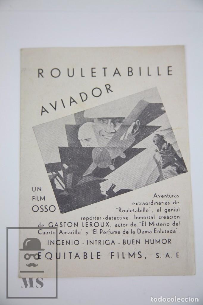 PROGRAMA DE CINE DOBLE - ROULETABILLE AVIADOR - EQUITABLE FILMS, AÑO 1935 (Cine - Folletos de Mano - Aventura)