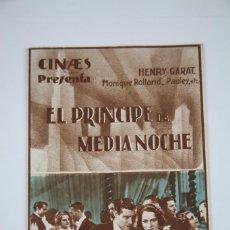 Cine: PROGRAMA DE CINE DOBLE - EL PRINCIPE DE MEDIA NOCHE - CINAES, AÑO 1935. Lote 98834491