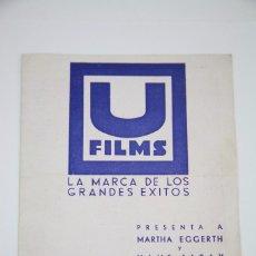 Cine: PROGRAMA DE CINE DOBLE - VUELAN MIS CANCIONES - U FILMS, AÑO 1934. Lote 98834903