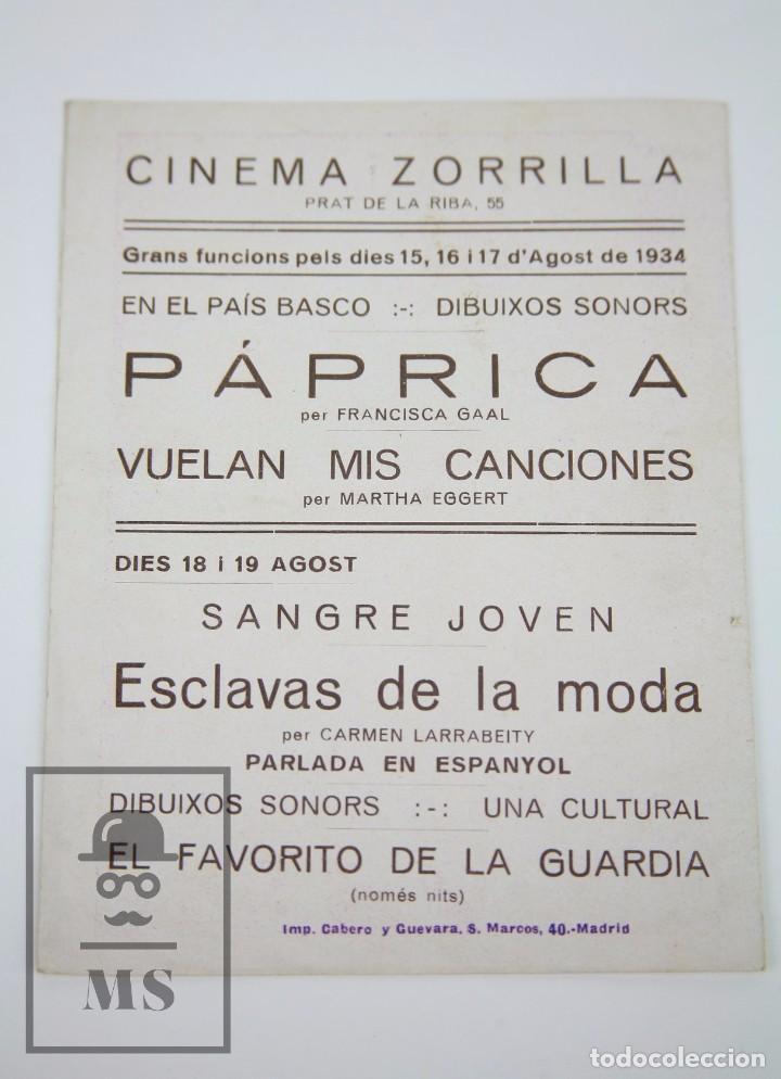 Cine: Programa de Cine Doble - Vuelan Mis Canciones - U Films, Año 1934 - Foto 3 - 98834903