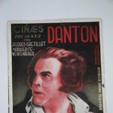 Cine: PROGRAMA DE CINE DOBLE - DANTON / JACQUES GRETILLAT, MARGUERITE WEINTENBERGER - CINAES, AÑO 1934. Lote 98838395