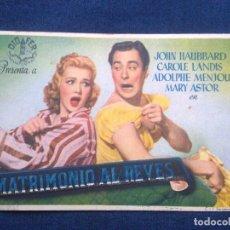 Cine: MATRIMONIO AL REVES. JOHN HAUBBARD Y CAROLE LANDIS. Lote 99225895