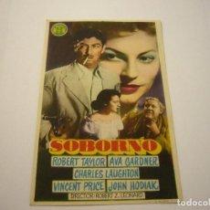 Cine: SOBORNO PROGRAMA SENCILLO MGM ROBERT TAYLOR AVA GARDNER VINCENT PRICE. Lote 99511623