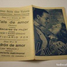 Cine: VALS DE AMOR. PROGRAMA CUADRUPLE . WILLY FRITSCH Y LILIAN HARVEY . CINE VICTORIA 1931. Lote 99657415