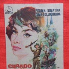 Cine: CUANDO HIERVE LA SANGRE, IMPECABLE SENCILLO, FRANK SINATRA G. LOLLOBRIGIDA, CINES ESPAÑA MASNOU. Lote 99675483