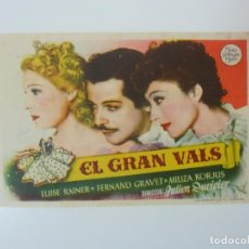 Cine: EL GRAN VALS. CON PUBLICIDAD. CINE CUYÁS. LAS PALMAS. AÑO 1946. Lote 99702051