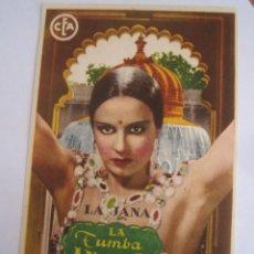 Cine: LA TUMBA INDIA LA JANA KITTY JANTZEN RICHARD EICHBERG CEA FILMS FOLLETO DE MANO ORIGINAL ESTRENO. Lote 99729683